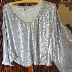 Free People Gold Sequin  Top